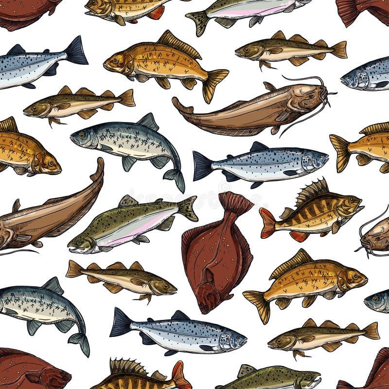 Vector картина рыб безшовных рыб океана моря иллюстрация штока