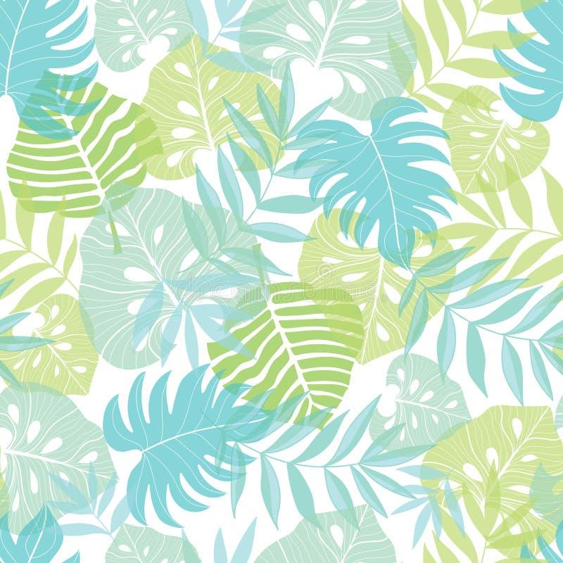 Vector картина светлого тропического лета листьев гаваиская безшовная с тропическими зелеными растениями и листьями на сини военн иллюстрация вектора
