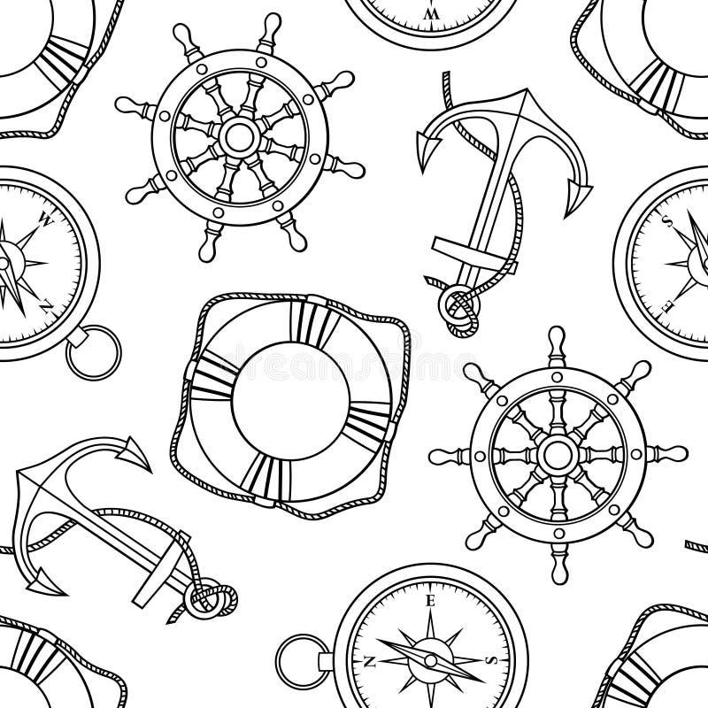 Vector картина с анкерами, lifebuoies, колесами кораблей, компасами иллюстрация вектора