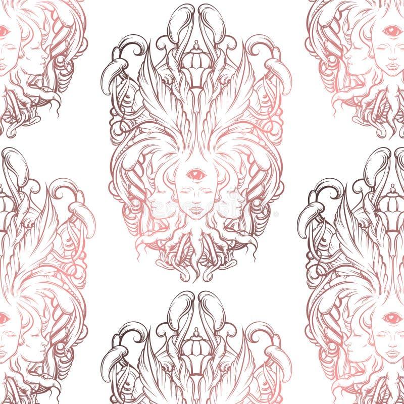 Vector картина с иллюстрацией рассказчика удачи с 3 головами, глазами, флористической барочной рамкой бесплатная иллюстрация