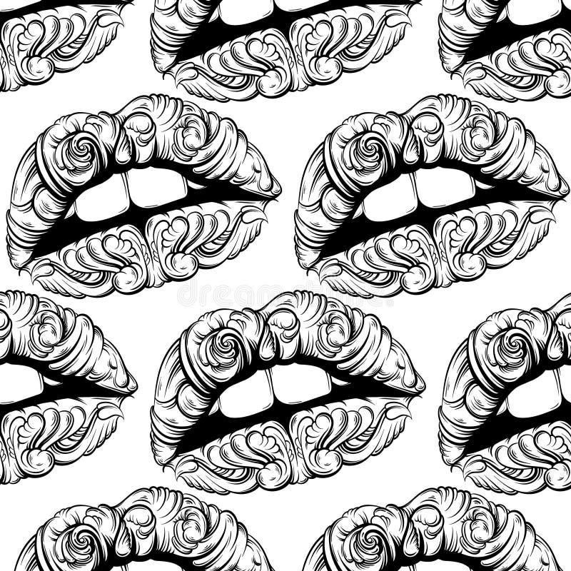 Vector картина с иллюстрацией сюрреалистических губ сделанных в стиле нарисованном рукой иллюстрация вектора