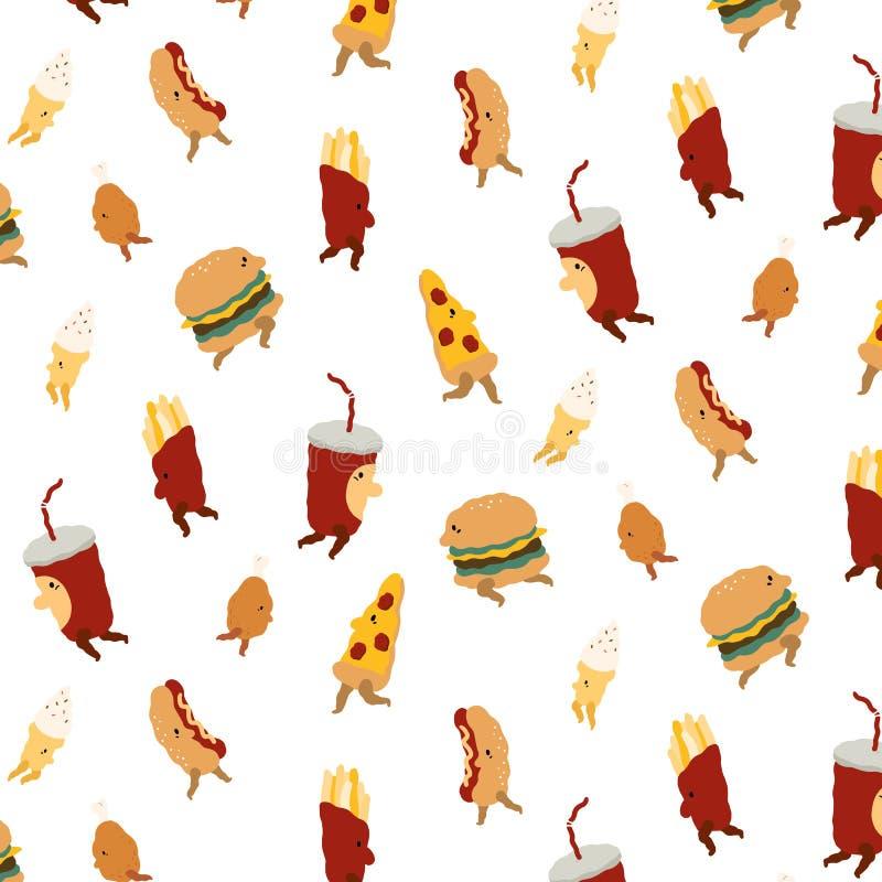 vector картина с пиццей, гамбургером, фраями француза, жареной курицей, мороженым, горячей сосиской, питьем соды на белой предпос бесплатная иллюстрация