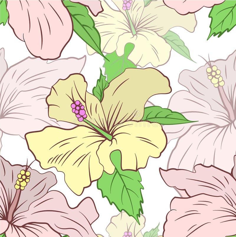 Vector картина с цветками чертежа руки на белой предпосылке стоковое изображение rf