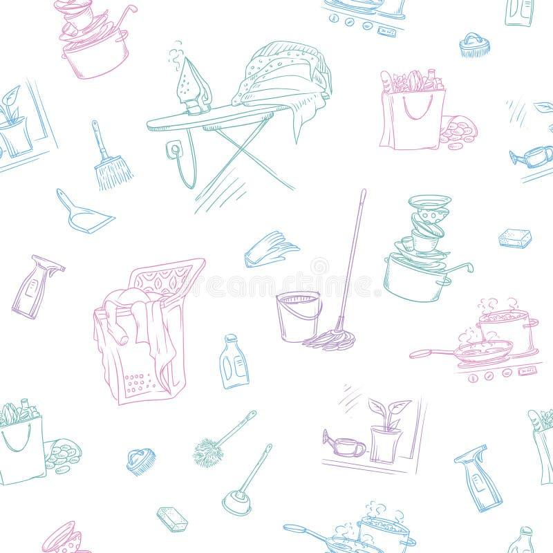 Vector картина цвета эскиза безшовная объектов и чистки дома ситуаций Неумытые блюда и проутюживенное белье иллюстрация штока