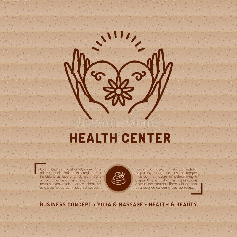 Vector карточка здоровья медицинского центра, салон красоты, студия массажа курорта иллюстрация штока
