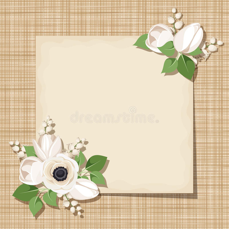 Vector карточка с белыми цветками на предпосылке увольнения Eps-10 иллюстрация вектора