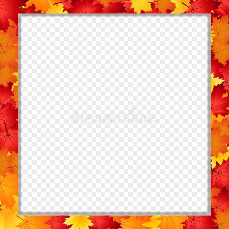 Vector квадратная рамка фото при упаденные кленовые листы осени изолированные с космосом экземпляра бесплатная иллюстрация