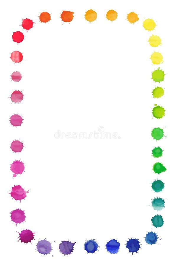 Vector квадратная рамка сделанная шариков радуги акварели бесплатная иллюстрация