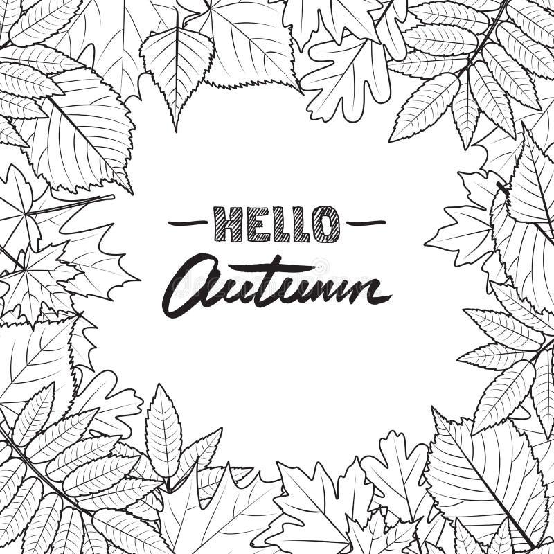 Vector квадратная рамка с нарисованными рукой листьями осени Черно-белая предпосылка падения иллюстрация вектора
