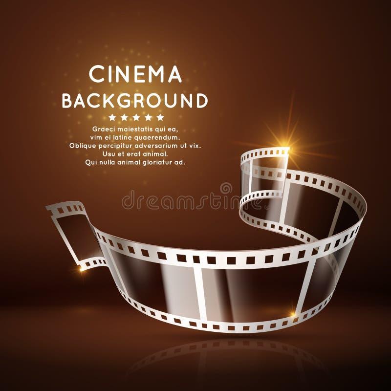 Vector киноафиша с креном фильма 35mm, винтажной предпосылкой кино иллюстрация штока