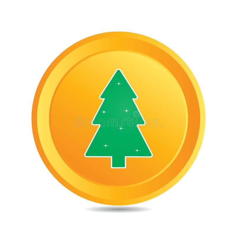 Vector кнопка (элемент сеты) с рождественской елкой иллюстрация штока
