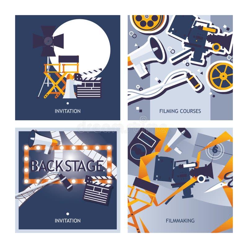 Vector комплект карточек предназначенный к снимать, делать кино и профессии кинематографера Квадрат конструирует шаблон с стулом  иллюстрация штока