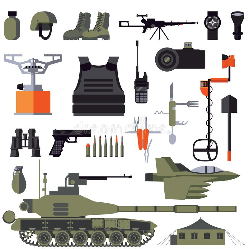 Vector комплект квартиры при товары и аксессуары армии изолированные на белизне Оружие и панцырь, одежды и корабли для солдата иллюстрация штока
