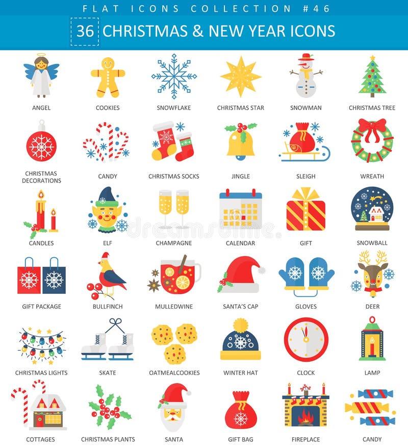 Vector комплект значок рождества и счастливого Нового Года плоский Дизайн элегантного стиля иллюстрация вектора