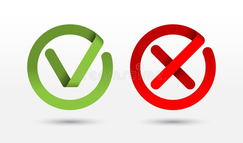 Vector контрольная пометка и перекрестные значки метки, знаки, кнопки иллюстрация штока