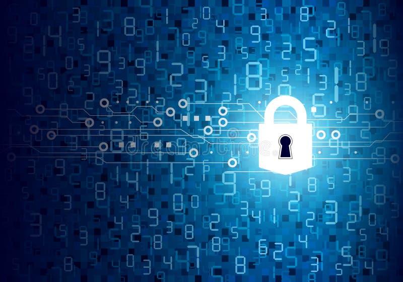 Vector концепция безопасностью padlock с цифровой технологией иллюстрация штока