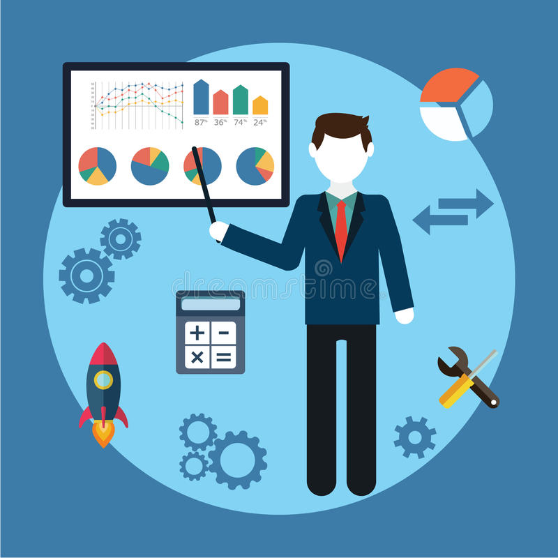 Vector концепция дела иллюстрации, человек, характер бизнесмена, графики на белой доске, плоском стиле иллюстрация штока