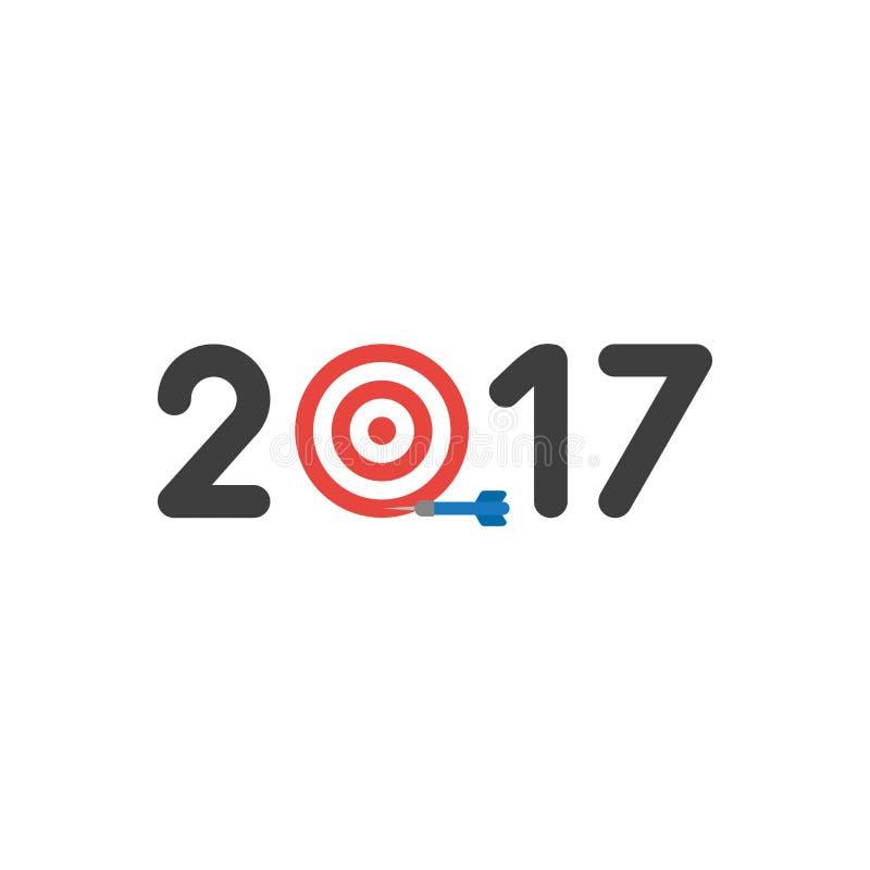 Vector концепция значка года 2017 с глазом быков и сметывайте несоосность иллюстрация вектора