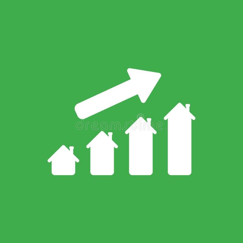 Vector концепция значка диаграммы дома двигая вверх на зеленую предпосылку иллюстрация вектора