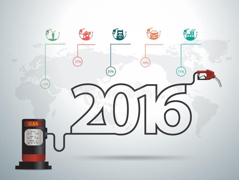 Vector концепция 2016 идей Нового Года с газом сопла бензиновой колонки иллюстрация вектора