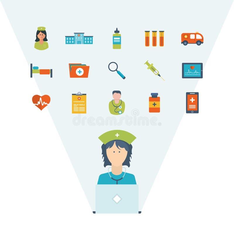 Vector концепция иллюстрации для здравоохранения, медицинской помощи и исследования иллюстрация штока