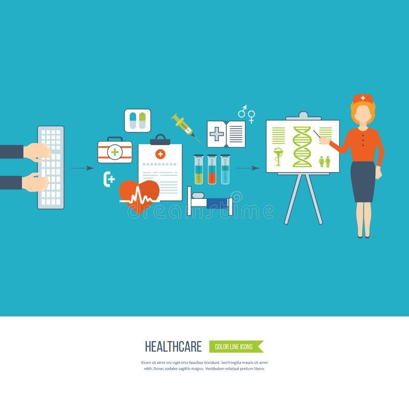 Vector концепция иллюстрации для здравоохранения, медицинской помощи и исследования иллюстрация вектора