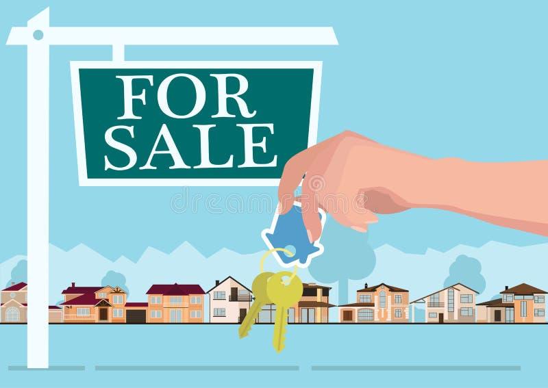 Vector концепция недвижимости в плоском стиле - руках давая ключи, знамя для продажи, дома для продажи или ренту вектор иллюстрация вектора