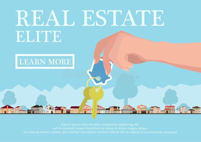 Vector концепция недвижимости в плоском стиле - руках давая ключи, знамя для продажи, дома элиты для продажи или ренту вектор иллюстрация вектора