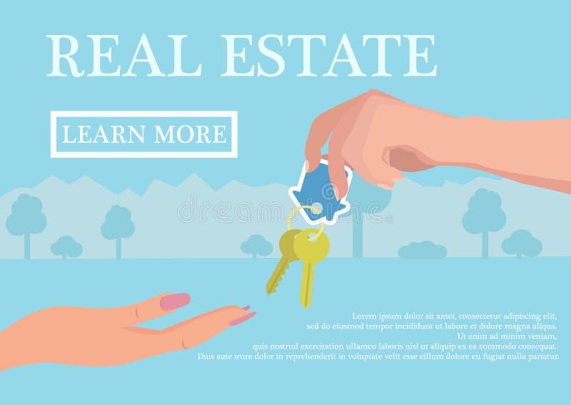 Vector концепция недвижимости в плоском стиле - руке businessmans давая ключи к покупателю, знамени сети, домам для продажи или р иллюстрация штока