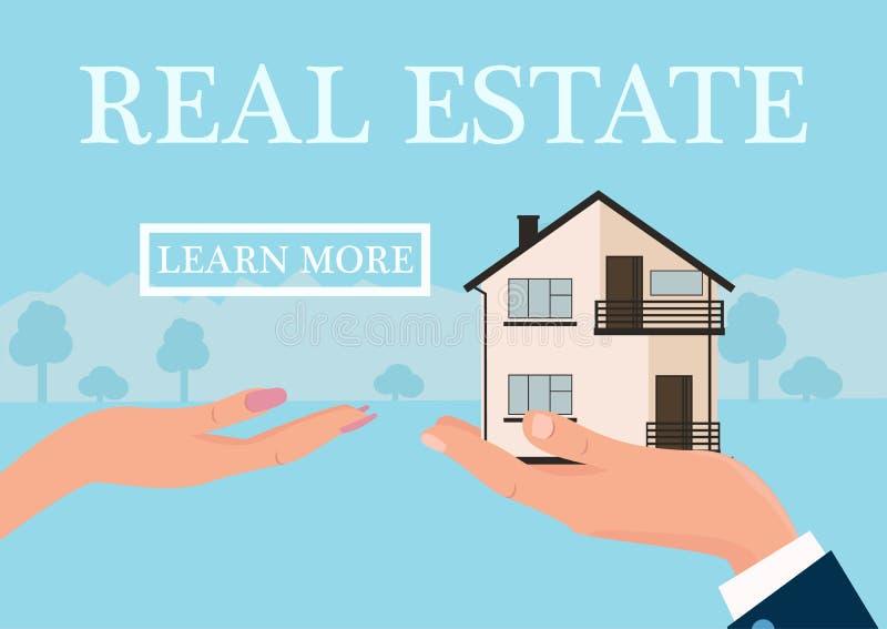 Vector концепция недвижимости в плоском стиле - руке businessmans давая дом к покупателю, знамени сети, домам для продажи или рен иллюстрация вектора