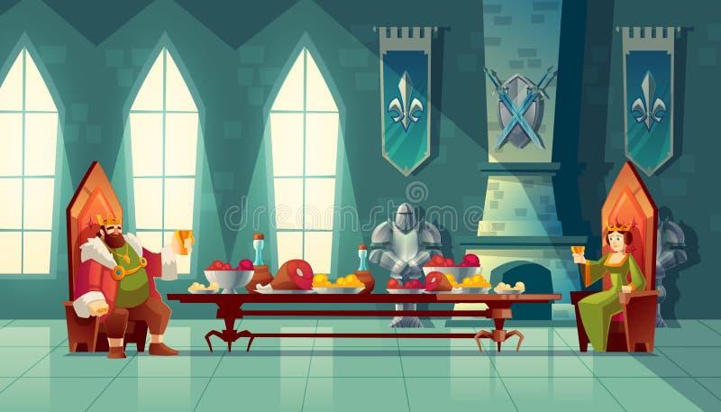 Vector концепция пиршества, король, ферзь ест еду иллюстрация штока