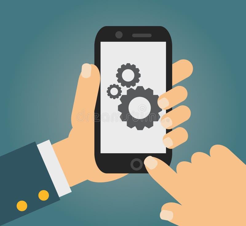 Vector концепция развития app в плоском стиле - мобильный телефон и эскиз на экране бесплатная иллюстрация