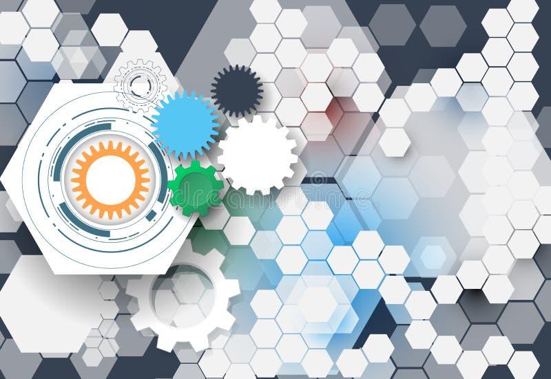 Vector колесо шестерни иллюстрации, шестиугольники и монтажная плата, технология Высок-техника цифровая и инженерство иллюстрация штока