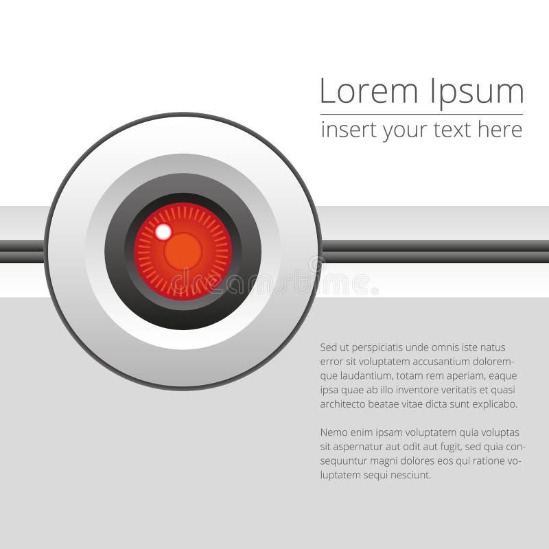 Vector красные робототехнические глаз или камера на светлой предпосылке бесплатная иллюстрация