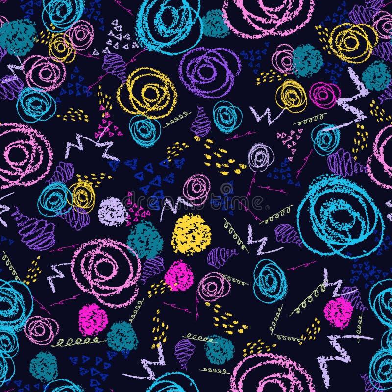 Vector красочная безшовная картина с ходами и кругами щетки Розовый голубой желтый зеленый цвет на черной предпосылке Рука бесплатная иллюстрация