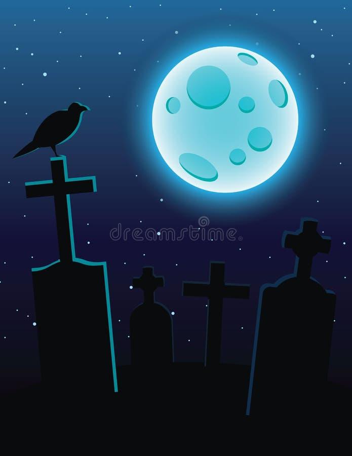 Vector красочная иллюстрация кладбища с лунным светом над синим небом иллюстрация штока