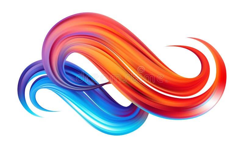 Vector красочное масло brushstroke или акрил на белой предпосылке Форма жидкости волны Ультрамодный дизайн бесплатная иллюстрация