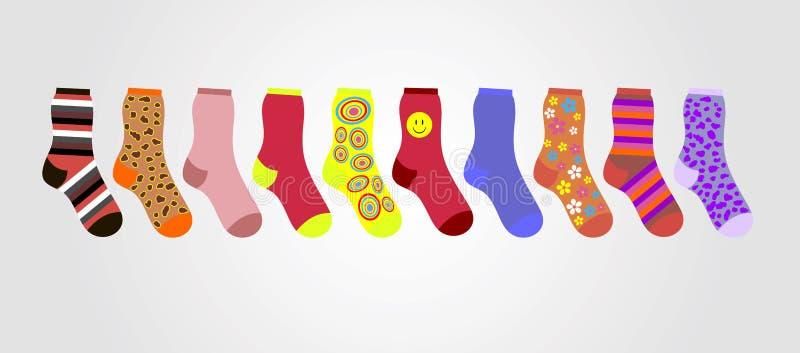 Vector красочные носки на серой предпосылке в линии иллюстрация штока