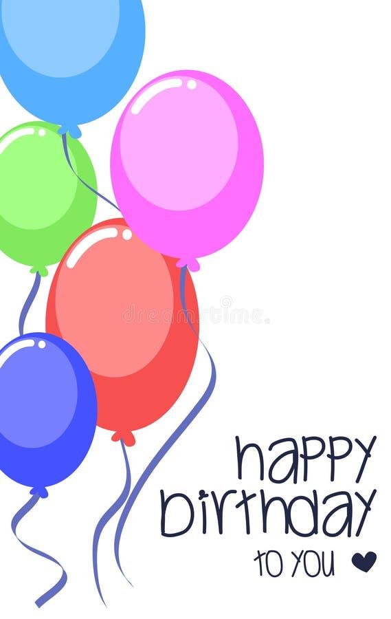 Vector красочный воздушный шар партии для шаблона поздравительой открытки ко дню рождения бесплатная иллюстрация