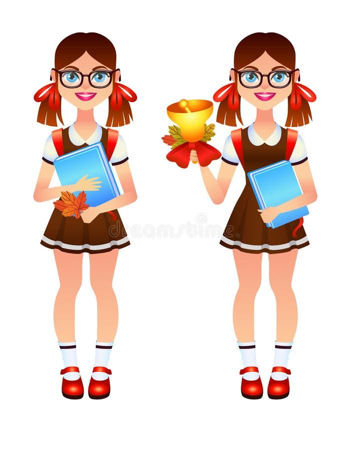 Vector красочный комплект девушки 2 идя назад к школе иллюстрация штока