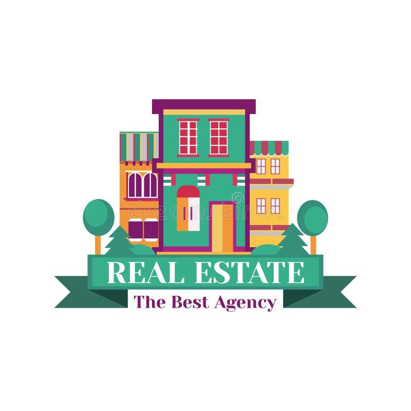 Vector красочный дом в деревне, логотип на белой предпосылке Значок шаблона для корпоративного стиля реального бесплатная иллюстрация