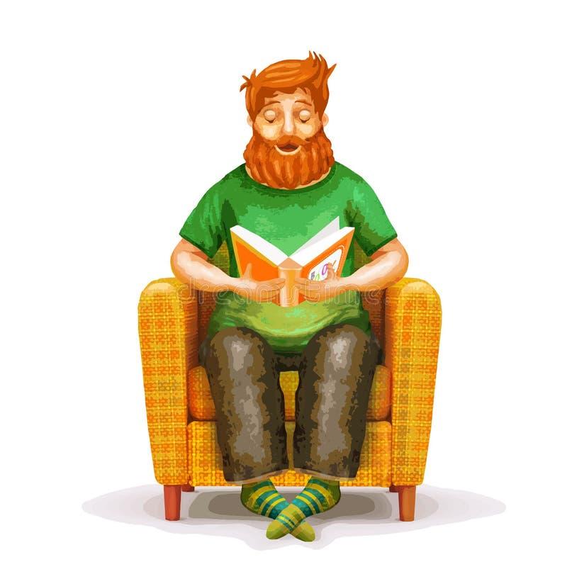 Vector кресло шаржа желтое при молодой человек читая книгу иллюстрация вектора