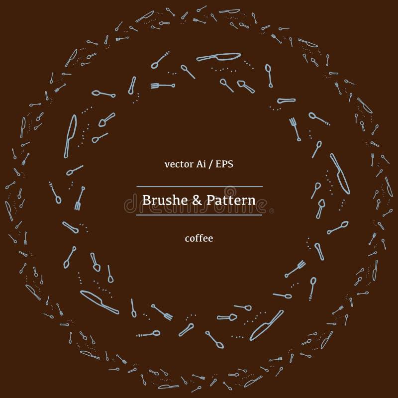 Vector круговые фасоли какао, циннамон и различные специи линейных значков иллюстрация штока