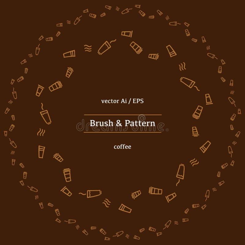 Vector круговые фасоли какао, циннамон и различные специи линейных значков бесплатная иллюстрация