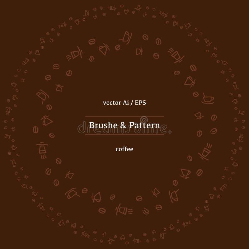 Vector круговые фасоли какао, циннамон и различные специи линейных значков иллюстрация вектора