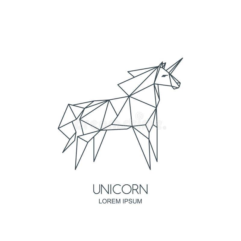 Vector линия значок или эмблема логотипа лошади единорога искусства Геометрическая иллюстрация для плаката, стикера отделки стен, бесплатная иллюстрация