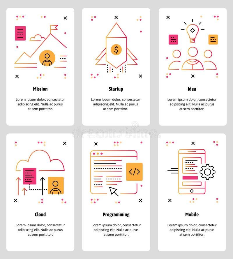 Vector линия сеть искусства и передвижной комплект шаблона app иллюстрация вектора