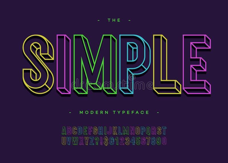 Vector линия стиль Sans Serif простого оформления алфавита 3d смелейшего красочная иллюстрация штока