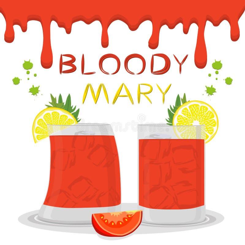 Vector логотип иллюстрации значка для коктеилей кровопролитной Mary спирта бесплатная иллюстрация