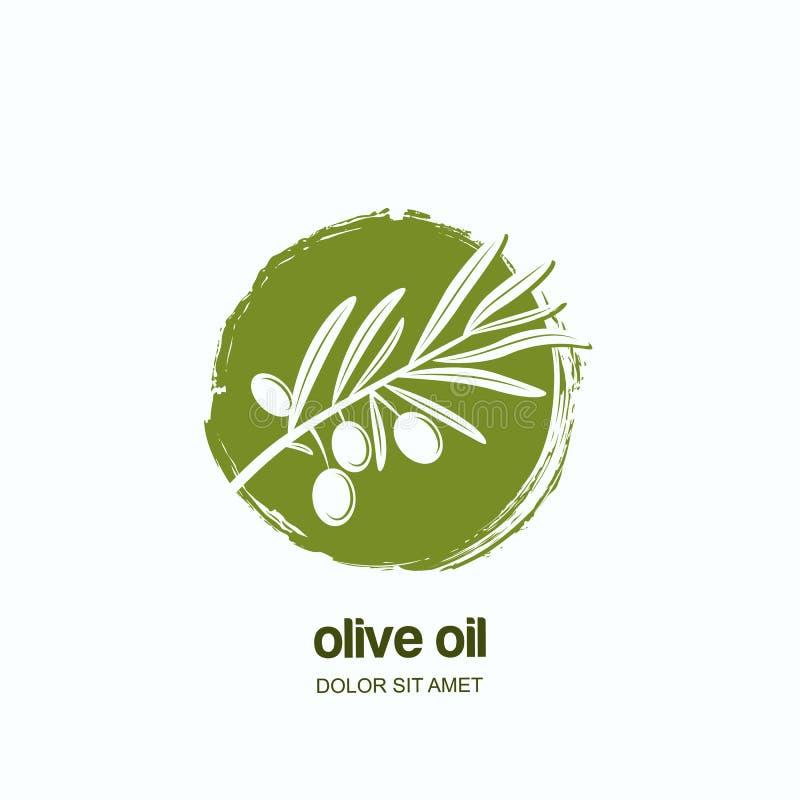 Vector логотип, обозначьте или emblem с зеленой оливковой веткой Концепция для земледелия, оливкового масла и пакета косметик иллюстрация штока